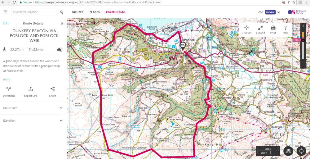 Dunkery Beacon Map