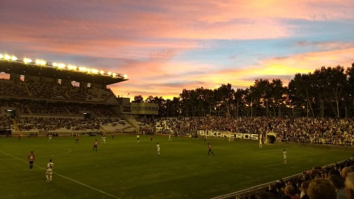 Sunset over Estadio de Vallecas, home of Rayo Vallecano