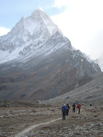 The plateau with Shivling looming ahead