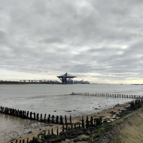 Views across the Orwell to Felixstowe
