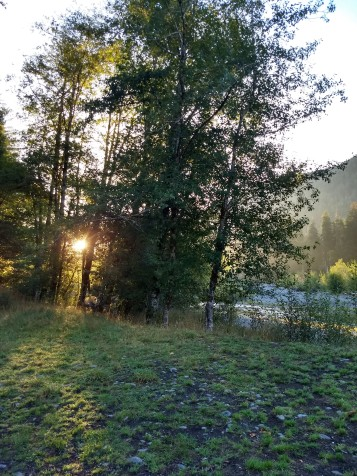 Sunrise at the campsite along the Hoh river trail